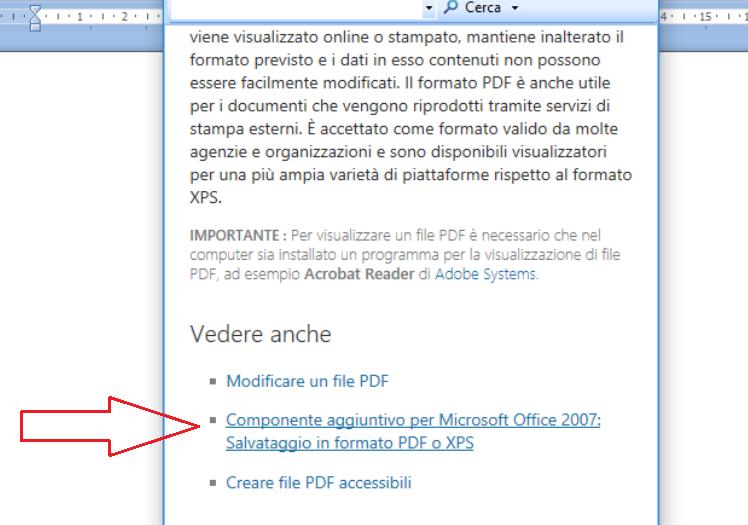 componente aggiuntivo word 2007 pdf xps